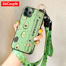 SoCouple Phone Holder Case For iphone XR X Xs max 11 Pro Max 7 8 6 6s plus Fruit Avocado Soft TPU Neck Wrist Strap Lanyard Case(China)