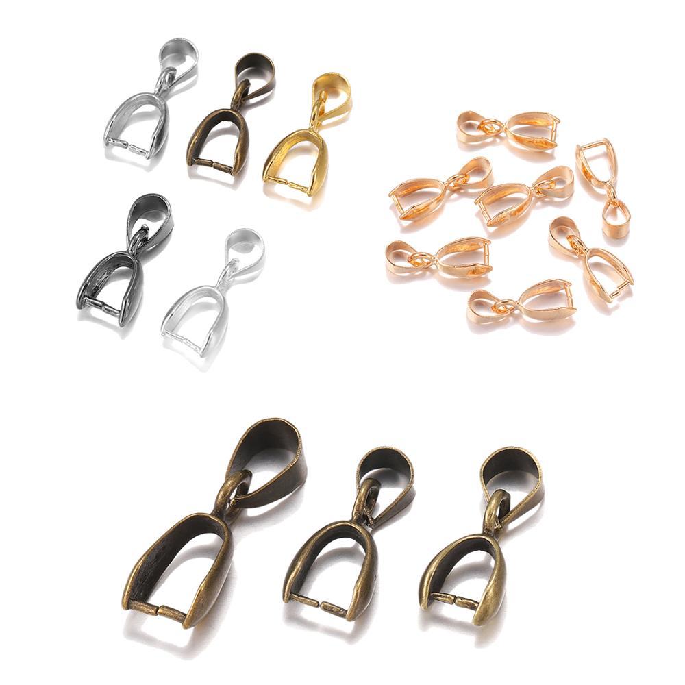 20pcs/lot 6 Colors Copper Pendant Clip Clasp Melon Seeds Buckle Pendant Connectors Charm Bail Beads Jewelry Making Necklace