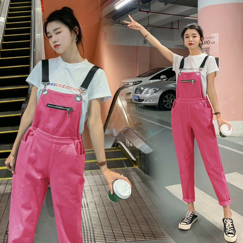 Capri Shoulder Strap Jeans Women's Summer New Style Short-sleeved Round Collar T-shirt Waist Hugging Suspenders Two-Piece Set Co