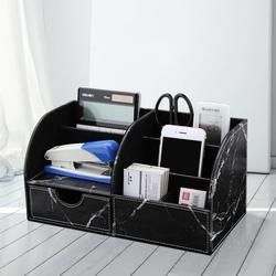6 Slots Half PU Leather Office Desk Organizer Desktop Stationery Storage Box Marble Pen Holder Organizer For Office