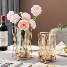 European Metal Candle Holder Gold Modern Decor Candle Stick Candle Holder Glass Vase Decorative Vase Dining Table Decor Gifts