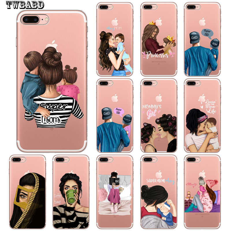 For Funda iphone 11 Mom Baby Girl Boy Phone Case For Coque iphone 8 7 X XS Max XR 11 11 Pro Max 6 7 8 Plus 5S SE Cover
