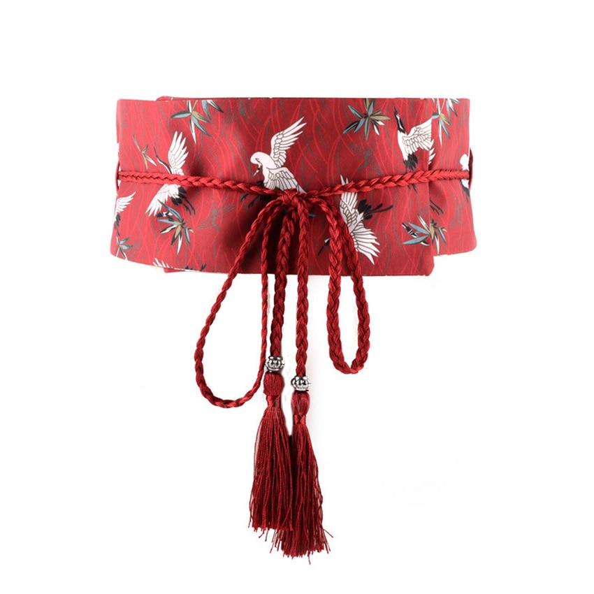 Japanese Traditional Clothing Kimono Cardigan Obi For Women Girl Fashion Streetwear Crane Printed Tassel Bandage Belt Yukata Obi