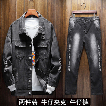 2020 New Spring Autumn Men's Denim Jacket Washed Jeans 2 Pieces Set Casual Style Letters Pattern Students Clothing Z22
