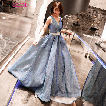 ES2796 formal dress women elegant long evening dress  V-Neck Floor-Length robe de soiree dress party evening gown shining fabric