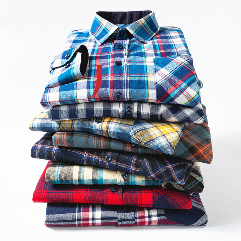 2020 New Mens Plaid Flannel Shirt Spring Summer Plus Size Soft Comfortable Male Slim Fit Business Casual Long-sleeved Shirts Men