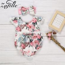 ZAFILLE 2020 девочка одежда расклешенный рукав цветочный Romper младенца для новорожденного с бантом деко оголовье девочек комбинезон детская одежда