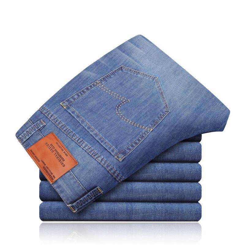 Goldberg Micro Elastic Jeans Men's Spring Slim Fit Straight-Cut Men's Trousers Business Casual Youth MEN'S Pants
