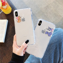 Cartoon brand cat mouse covers phone for iphone 6splus 8 7 plus transparent silicone clear soft TPU case 6 s