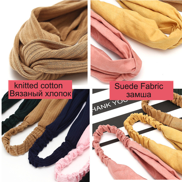 Women Headband Cross Top Knot Elastic Hair Bands Soft Solid Color Girls Hairband Hair Accessories Twisted Knotted Headwrap 5