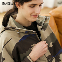Markless Mens Camouflage Half Zipper Hooded Jacket Sports Loose Casual Top Wearing Windpfroof Coat WTB0160M
