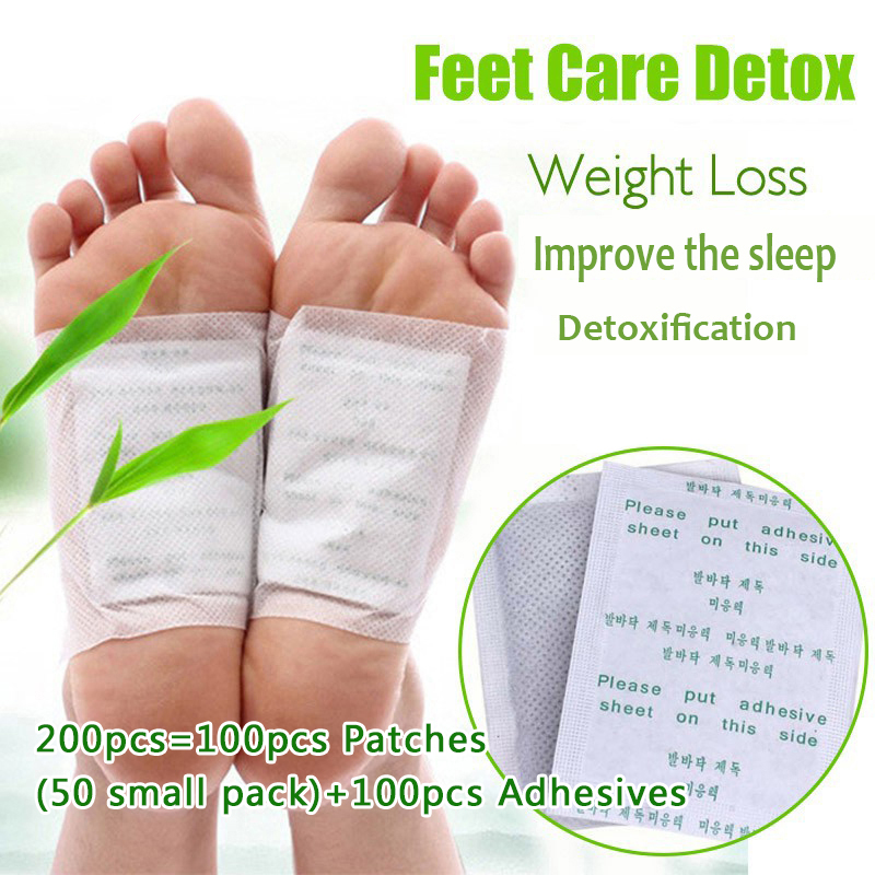 200pcs Kinoki Detox Foot Patch Bamboo Pads Patches With Adhersive Foot Care Tool Improve Sleep Slimming Foot Sticker