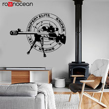 Sniper Rifle Army Forces War Wall Sticker Vinyl Interior Design Shooting Training Sign Decals Home Decor Room Murals 3628