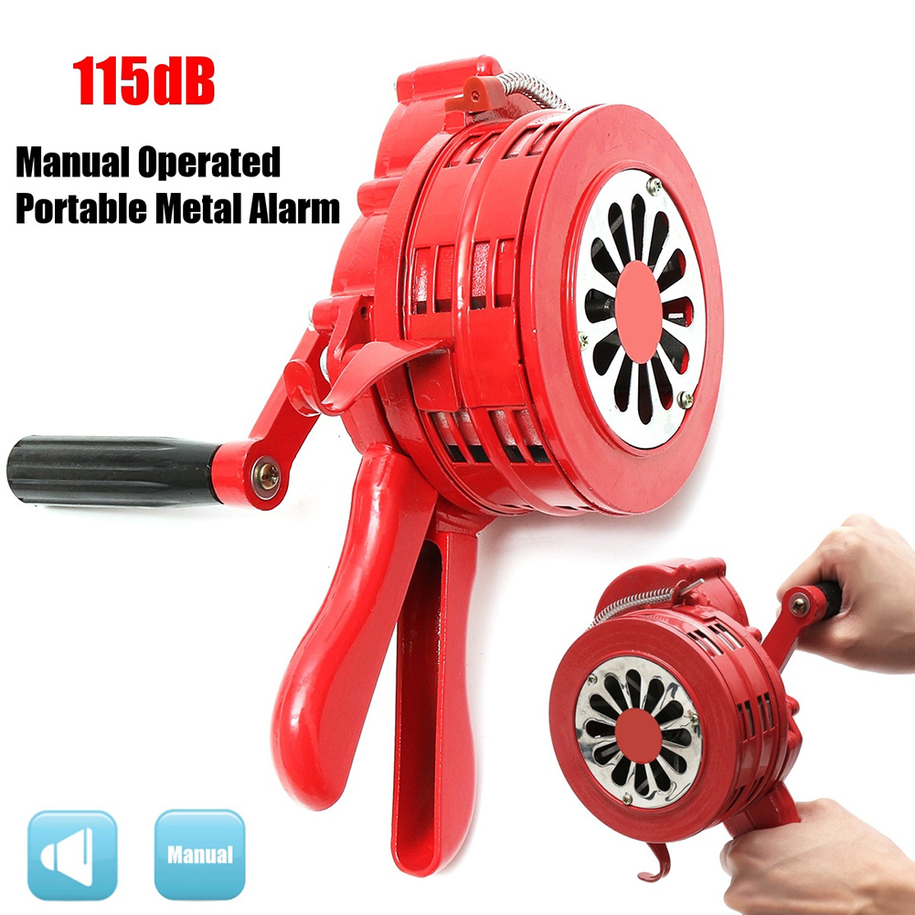 Hand Operated Crank Air Raid Safety Siren Fire Emergency Alarm Aluminum Alloy 231X202X115mm VH99
