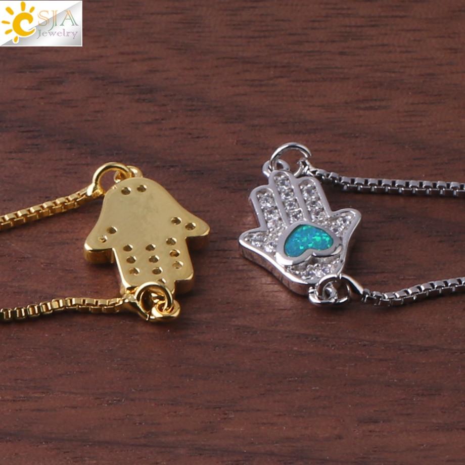 Image 5 - CSJA Religious Style Fatima Hand Charm Bracelet Heart Opal Pave  Zircon Chain Bracelets for Women Men Amulet Fashion Jewelry G105Chain