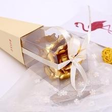 Романтическое розовое свадебное украшение с покрытием из золотистой фольги 24 k, Золотая Роза, имитация цветка розы, подарок на день Святого Валентина