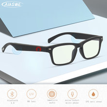 Aikswe óculos inteligentes bluetooth 5.0 anti-azul óculos de luz toque música estéreo sem fio com microfone hd surround som esportes óculos