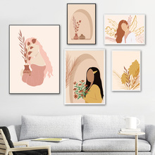 Abstract Girl Figure Leaves Flower Boho Wall Art Canvas Painting Nordic Posters And Prints Wall Pictures For Living Room Decor abstract girl figure leaves flower boho wall art canvas painting nordic posters and prints wall pictures for living room decor