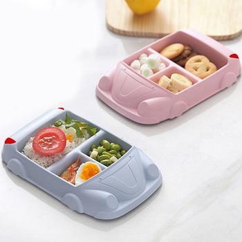 Naczynia dla dzieci do karmienia niemowląt bambusowe naczynia treningowe karmienie dziecka zestawy sztućce dla dzieci kształt samochodu miski dla dziecka