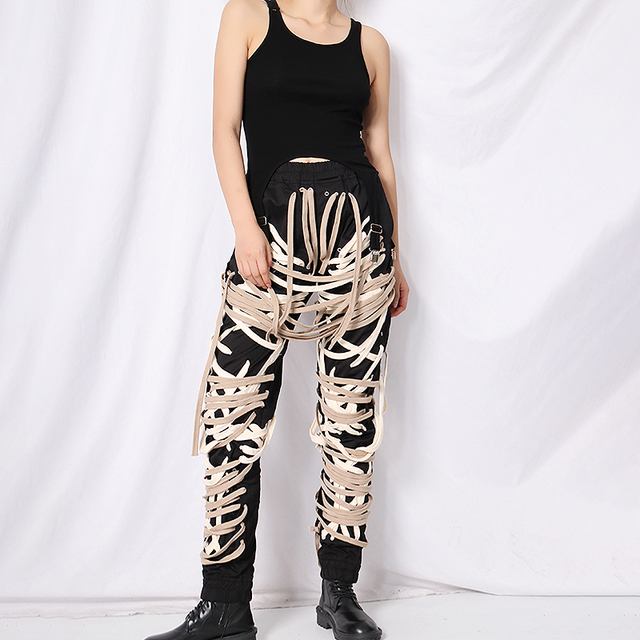 TWOTWINSTYLE Cross Bandage  Pants For Women High Waist Full Length Plus Size Casual Black Trousers Female 2020 Autumn New Style 2