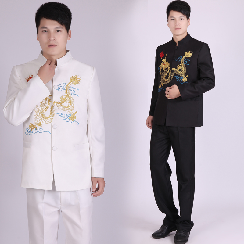 Suits Men 2019 Embroidered Dragon Stand Collar Suits Chinese Style Male Stage Singer Costume Homme Mens Suits With Pants SL1600