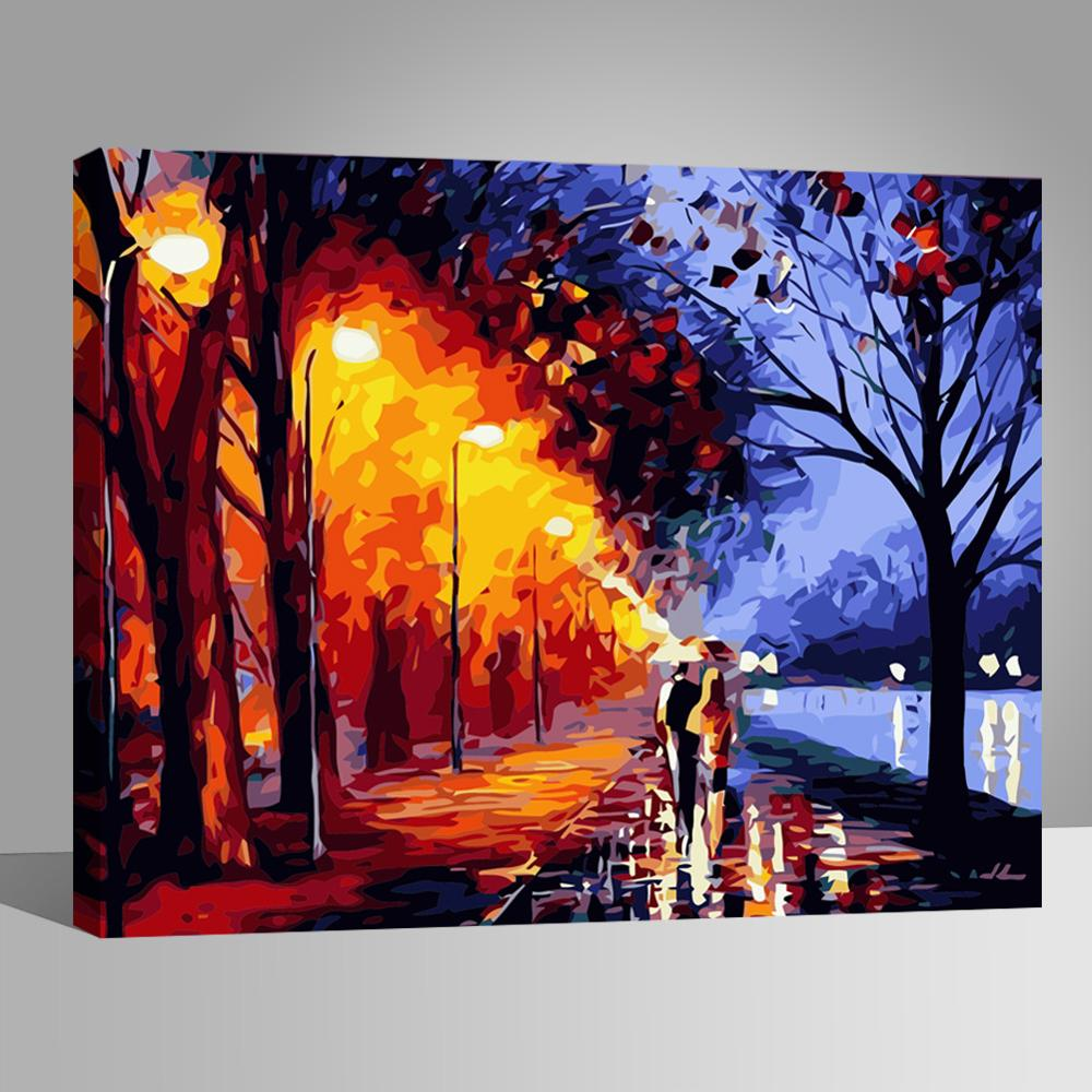 Wall Paint Couple Walking Diy Handpainted Pictures Canvas Arts Coloring Decors