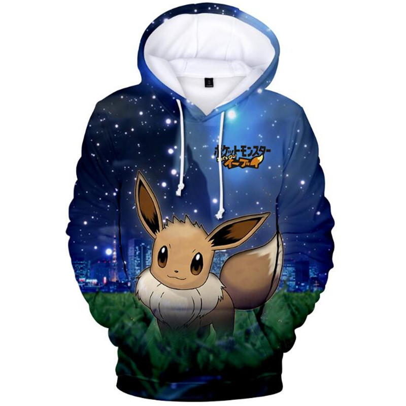 2019French Cartoon Pokemon Let' Go Pikachu 3D Hoodies Sweatshirts Boys And Girls Thin  Style Kawaii Anime Harajuku Kids Clothes