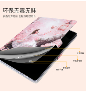 Image 2 - Geschilderd Fashion Stand Pu Leather Case Voor Huawei Mediapad T5 10 Case AGS2 W09 AGS2 L09 AGS2 L03 10.1 Tablet Cover + pen + Film