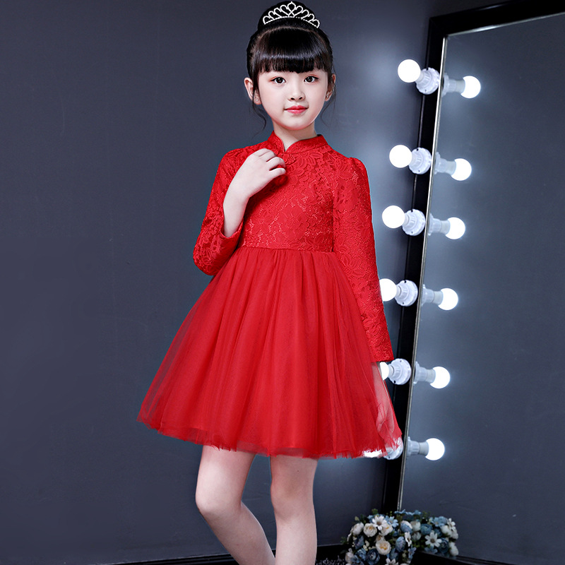 Chinese-style Dress Girls 2018 CHILDREN'S Dress Red Chinese Knot Gauze Puffy Princess Skirt