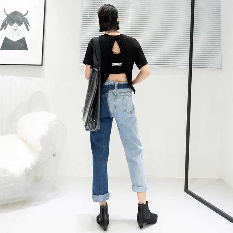 Denim  Wide Leg Pant With Detachable Wrap Mini Skirt  and Pocket Size 68