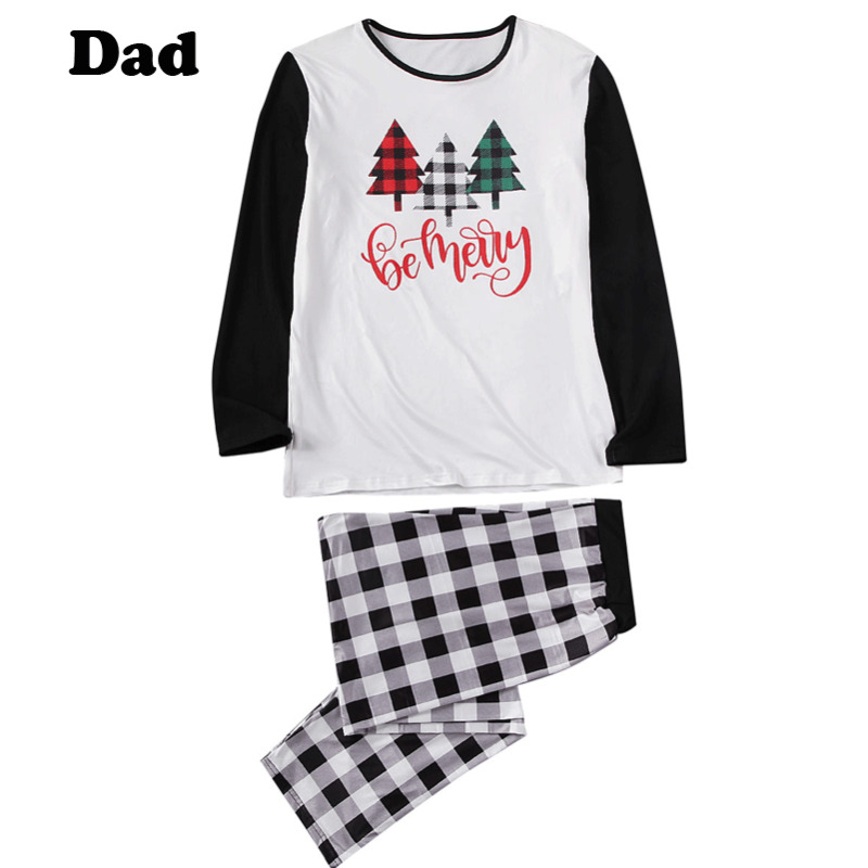 Family Matching Sleepwear Christmas Pajamas Plain Lattice Nightwear Indoor Wear