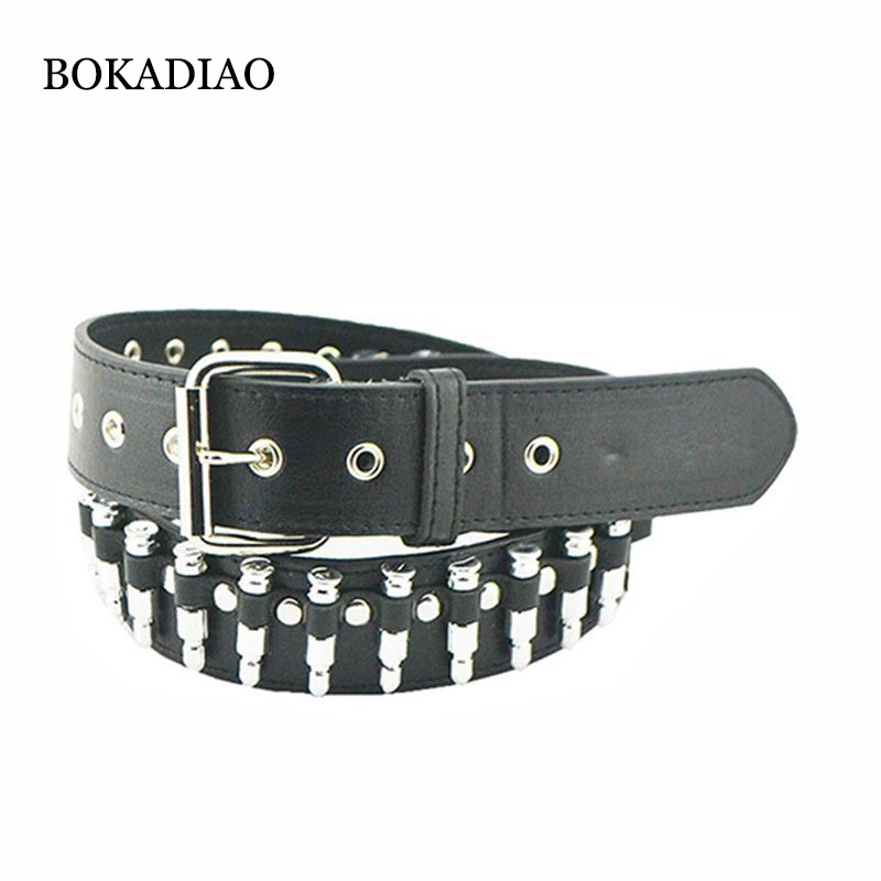 BOKADIAO Men Leather Belt Punk Bullets Rivet Fashion Motorcycle Belts For Women Luxury Jeans Waistband Female Strap High Quality