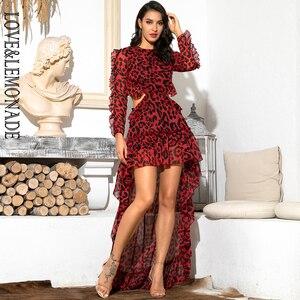 Image 2 - Aşk ve limonata seksi Cut Out aç geri kırmızı leopar uzun kollu şifon elbise LM81503