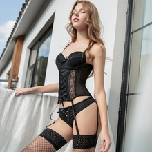 Fabric-Corsets Sexy Lingerie Underwire Bustier Lace Women for High-Elasticity with Thong