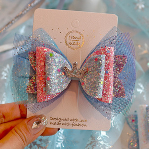 Image 4 - 6pcs/lot Princess Crown Hair Clips Sweet Color Shine Glitter Diamond Hairbows Mesh Decor Hairpin Girls Party Hair Accessories