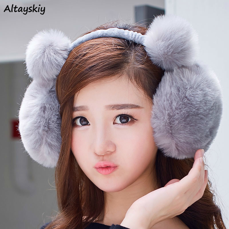 Earmuffs Women Solid High Quality All-match Harajuku Accessories Womens Winter Warm Fashion Ladies Lovely Kawaii Casual Student