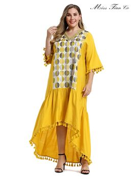 2021 Abaya longue printemps femmes robes grande grande taille mode élégant col en V couture irrégulière jaune Maxi robe 1