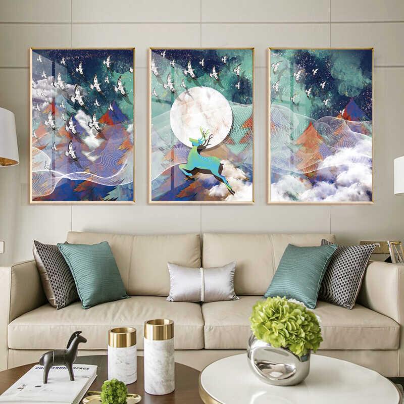 3 パネル HD 抽象ライン鹿林キャンバスプリント PaintingWall アートピクチャーホームインテリアリビングルーム非フレーム用