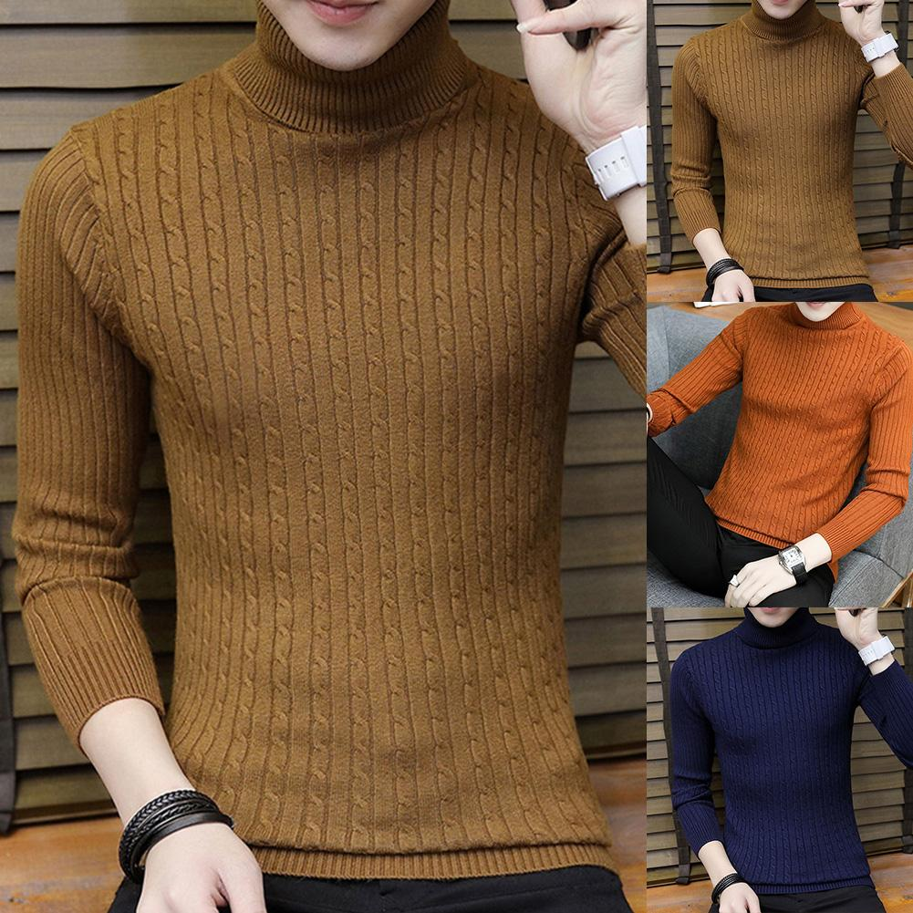Fashion Winter Chic Men Solid Color Turtleneck Long Sleeve Knitted Sweater Bottoming Top Acrylic Sweater Standard Wool  M-3XL