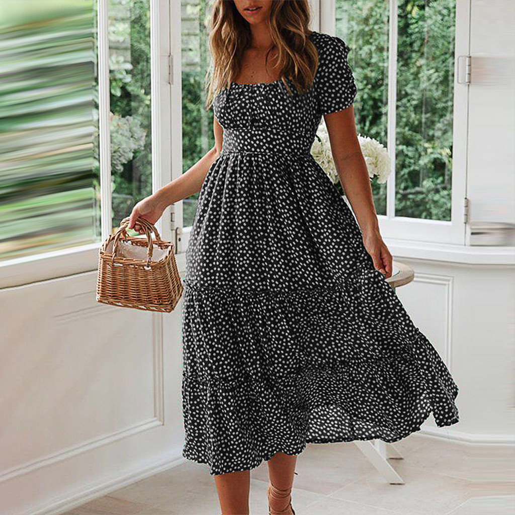 Elegant Square Collar Ruffles Women Dress Short Sleeve Elastic Waist Female Chiffon Dress 2020 Summer Dress Midi Vestidos#3