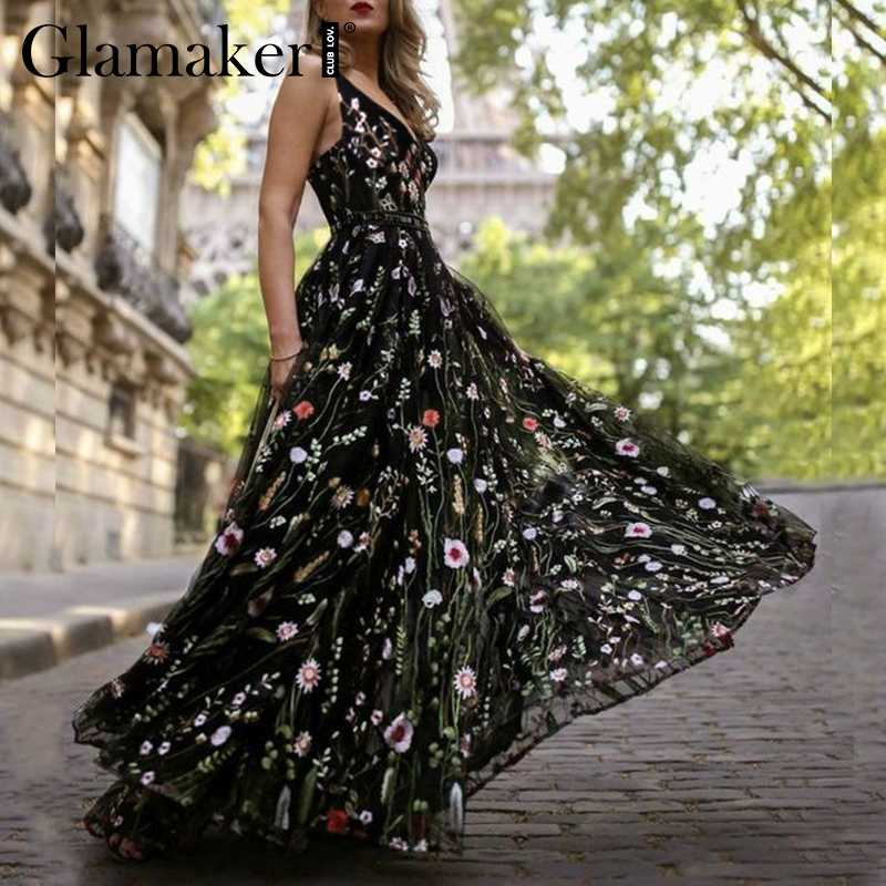 Glamaker Sexy mesh vintage floral embroidery maxi dress Women autumn backless beach dress Female elegant ladies wrap long dress