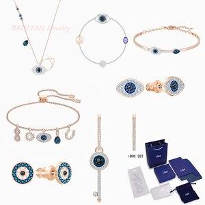 2020 модные ювелирные изделия SWA Новый символический набор сглаза черный и прозрачный узор глаза демона кристалл ожерелье элегантный романти...
