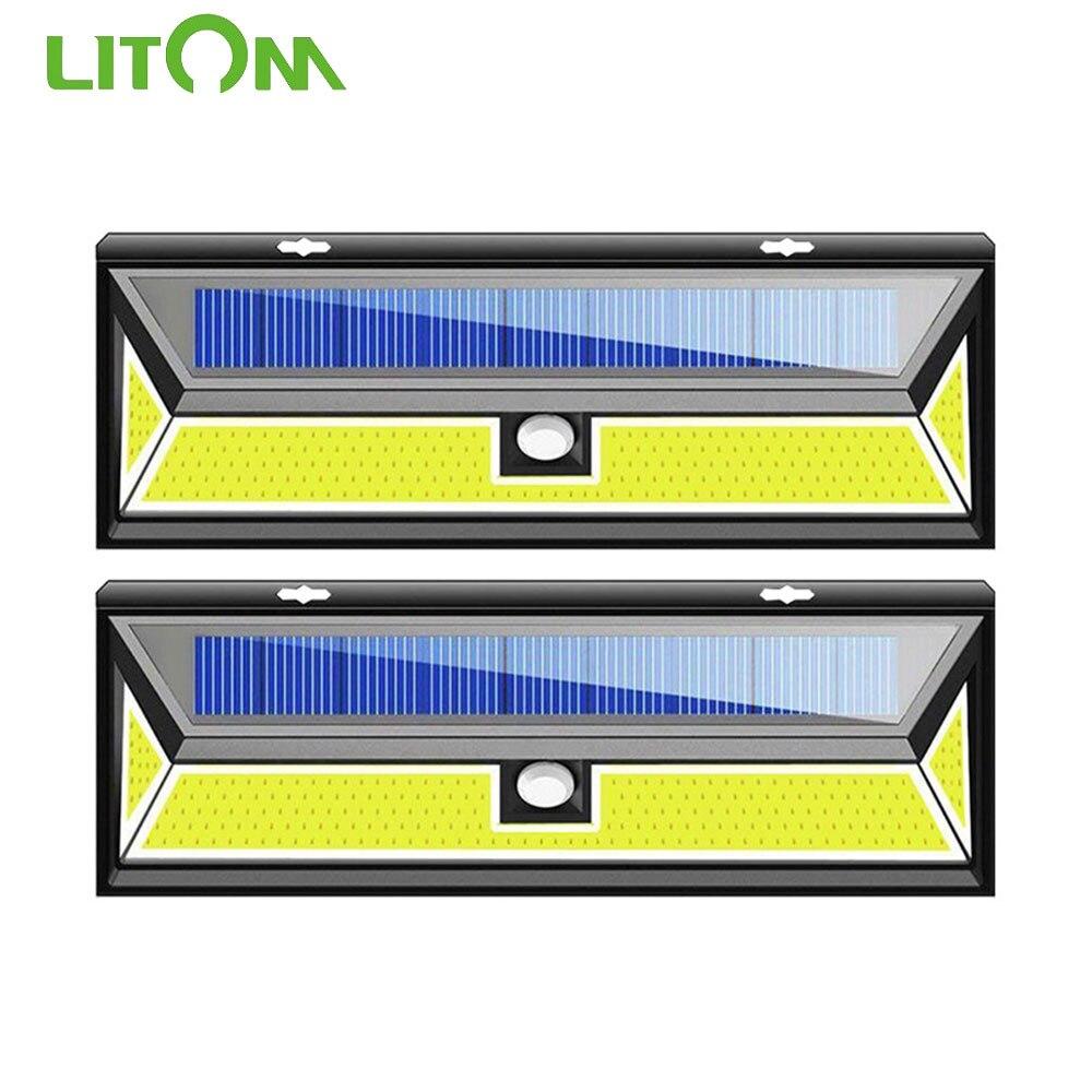1/2/4 Pack LITOM XG888 180 LEDS Solar Light Motion Sensor Wall Light IP65 Waterproof COD LED 3 Lighting Mode For Outdoor Garden
