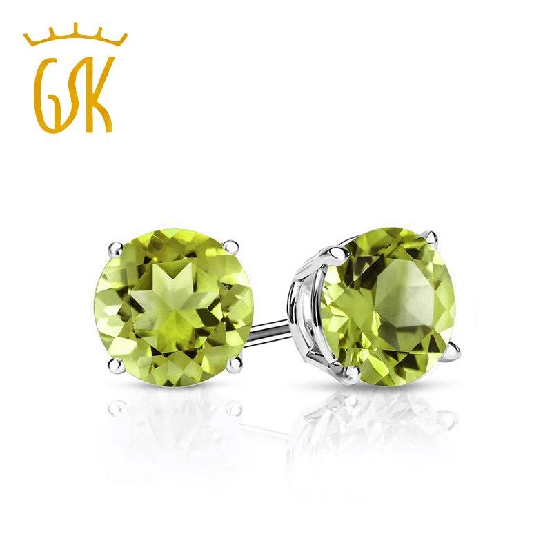 14k Yellow Gold 4 mm Round Peridot Stud Earrings