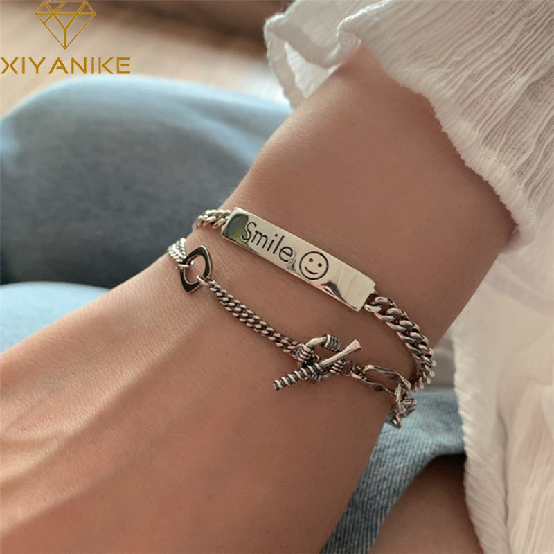 XIYANIKE New Fashion 925 Sterling Silver Bangles & Bracelet Vintage Handmade Smiling Face Party Accessories Thai Silver Jewelry