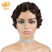 SSH Non-Remy Human Hair Short Pixie Cut Wig 1920's Flapper Hairstyles for Women Short Finger Wave Retro Style Wig Cosplay(China)