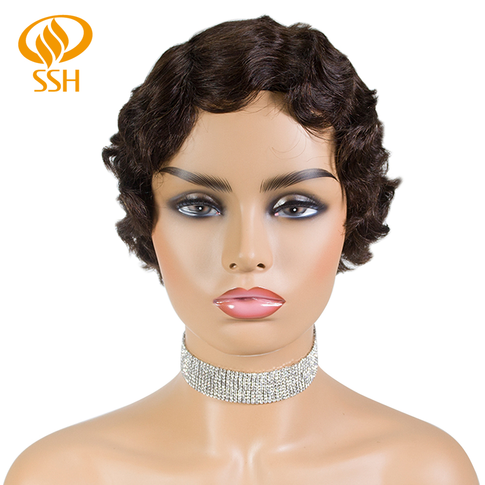SSH Remy Human Hair Short Pixie Cut Wig 1920's Flapper Hairstyles For Women Short Finger Wave Retro Style Wig Cosplay