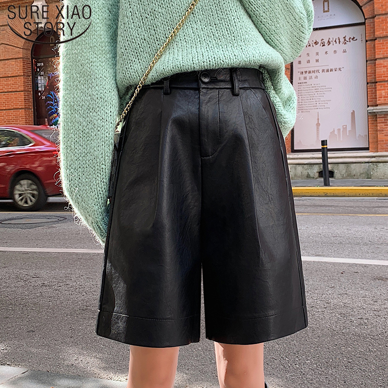 Fashion PU Leather Shorts Women Autumn Elegant New 2019 Elastic Waist Loose Five Points Leather Trouser Plus Size Shorts 8207 50