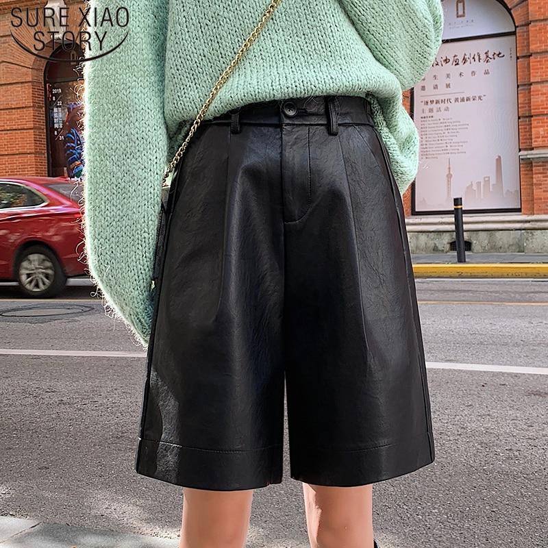 Fashion PU Leather Shorts Women Autumn Elegant New 2019 Elastic Waist Loose Five Points Leather Trouser Plus Size Shorts 8207 50