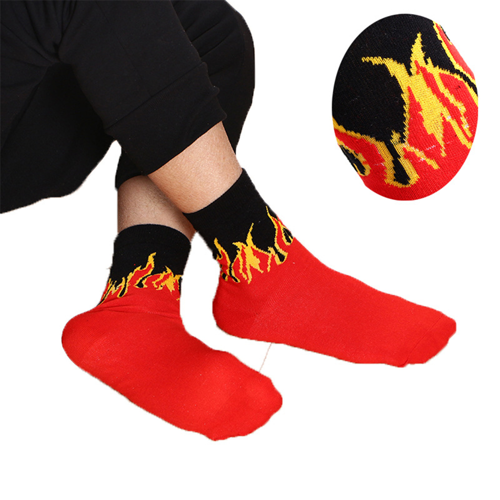 Unisex Hip Hop Design Red Yellow Flame Crew Socks Harajuku Socks Skateboard Calceines Mujer Street  Dancing Socks 1pair